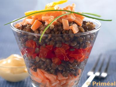Recette Bio : Verrines de Lentilles et saumon
