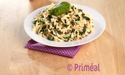 Recette bio Priméal: pâtes spirales de blé dur au pesto d'épinards