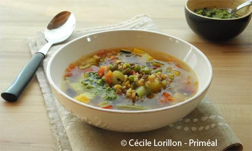 Recette bio Priméal: soupe minestrone au mescia de Petit épeautre