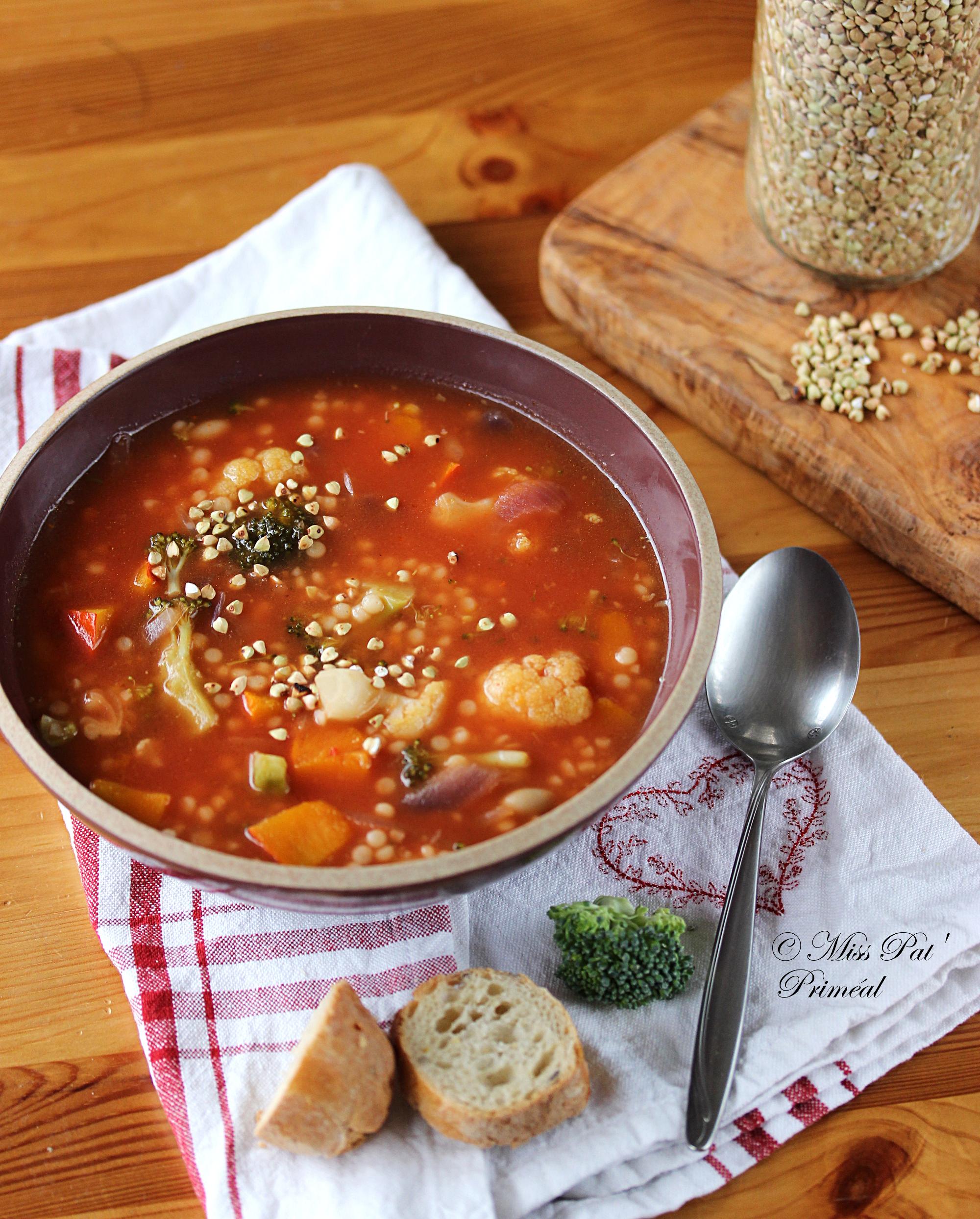 Recette bio : Soupe minestrone aux deux choux