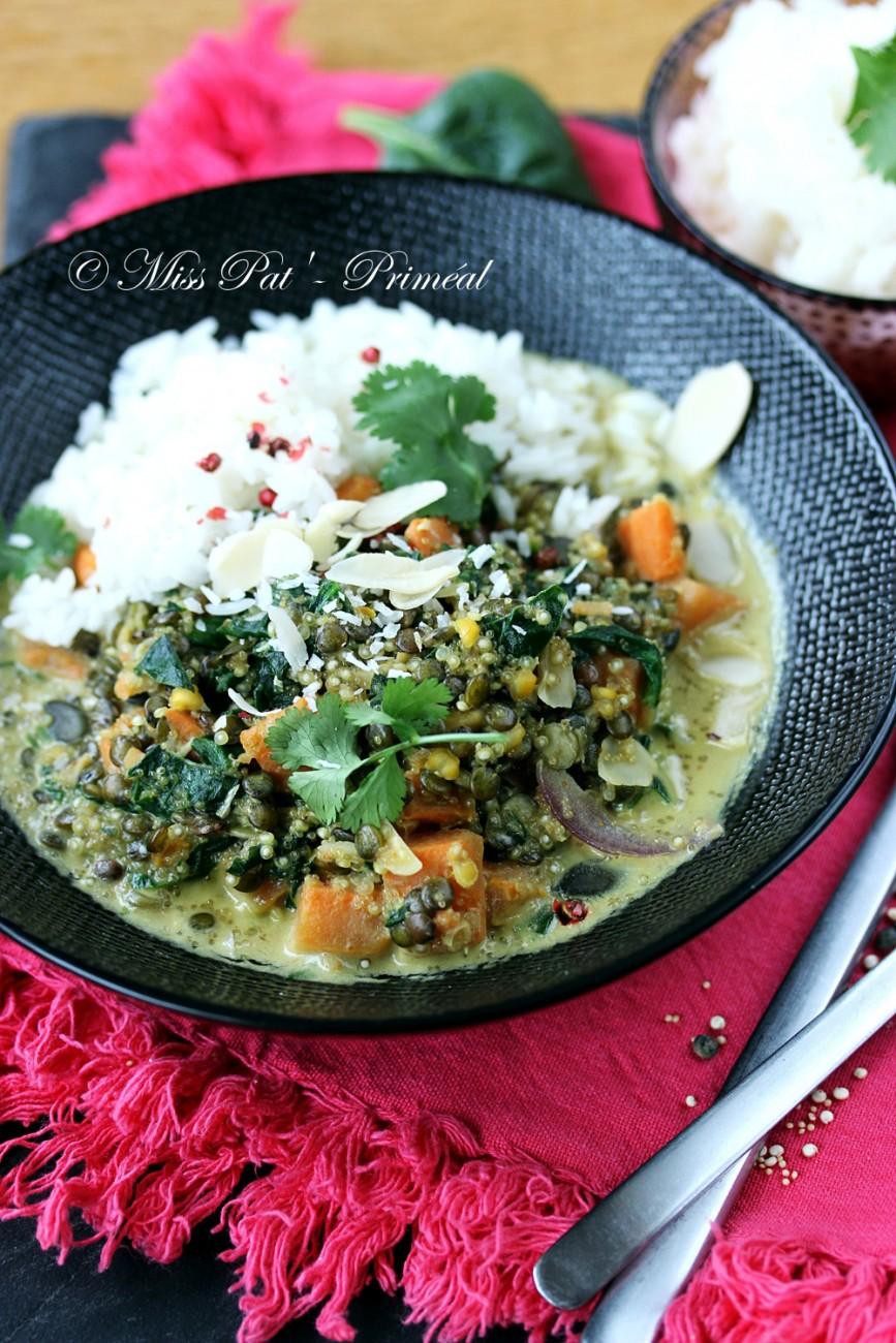 Recette bio : Curry végétarien quinoa et lentilles, à la patate douce