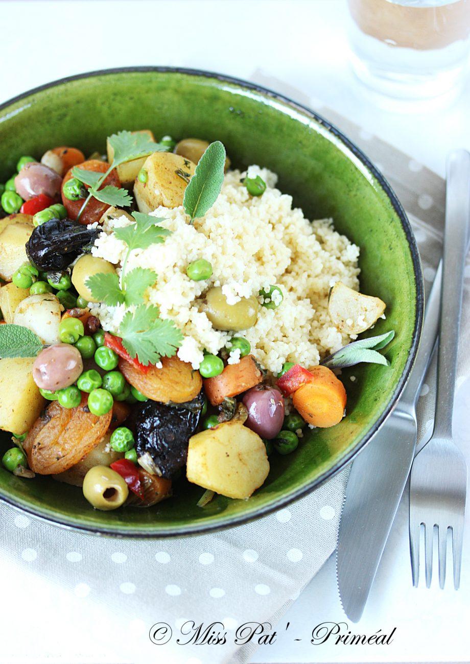 Recette bio : Tajine aux légumes printaniers et à la semoule de blé