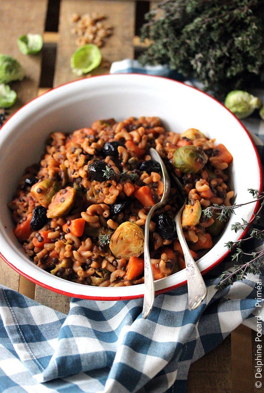 One Pot Pasta coquillettes et lentilles, aux légumes
