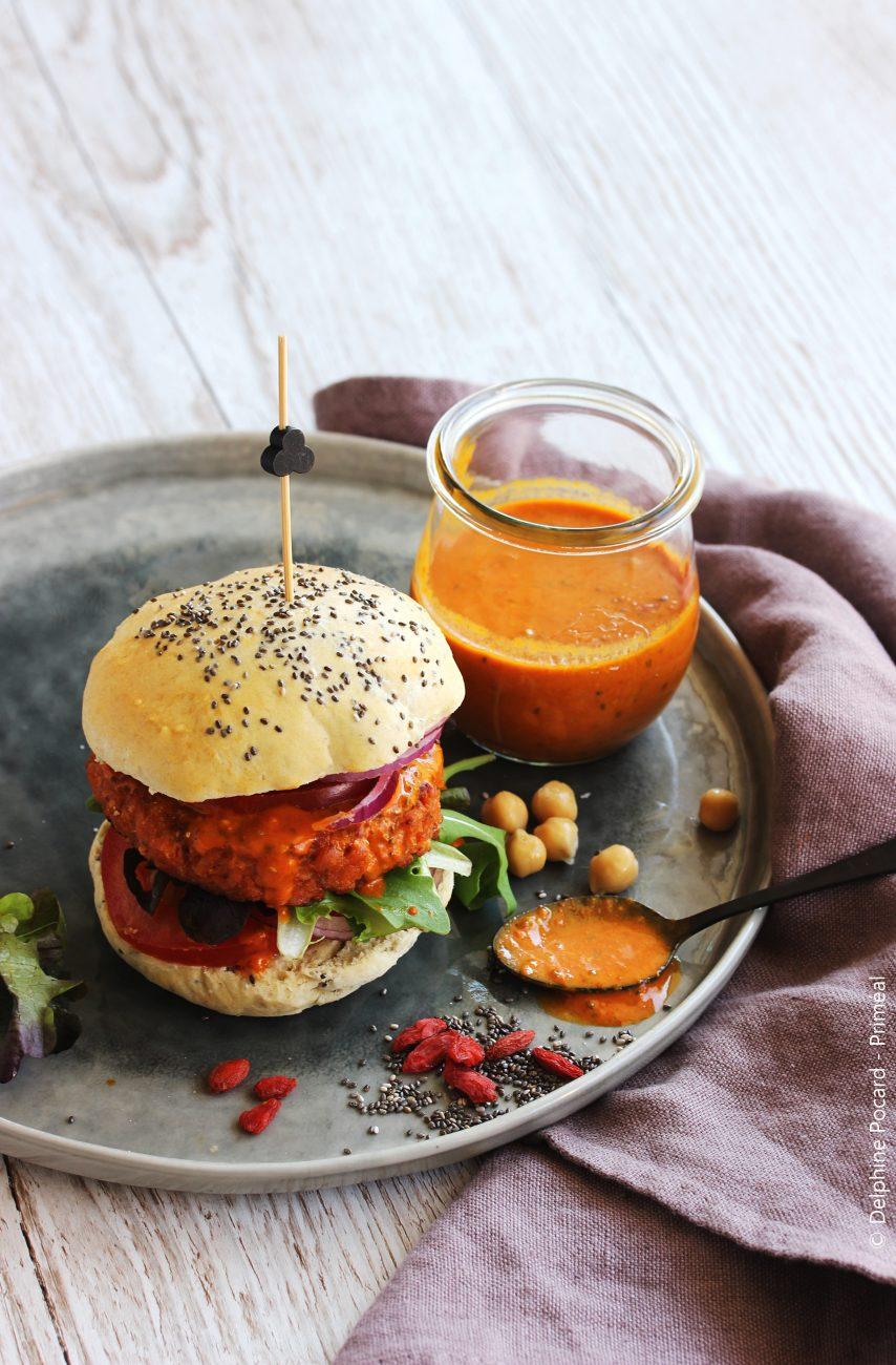 Burger Veggie, sauce Baies de Goji