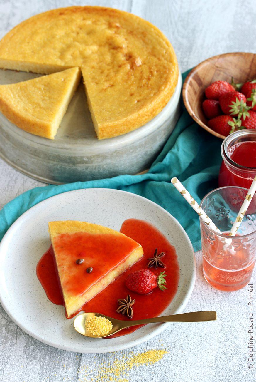 Flan de polenta au coulis de fruits rouges et badiane