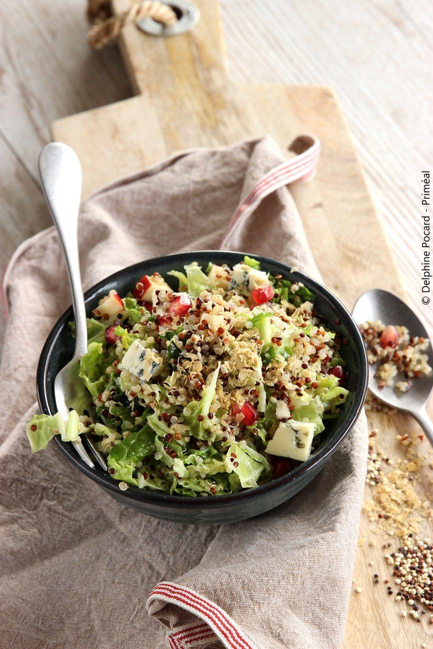 Salade chou frisé et quinoa, à la grenade
