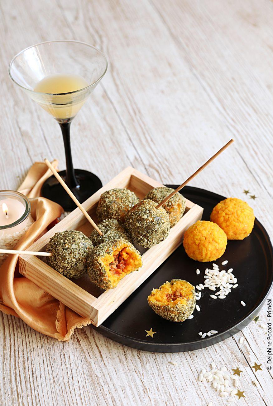 Arancini / boulettes apéro, riz et curcuma