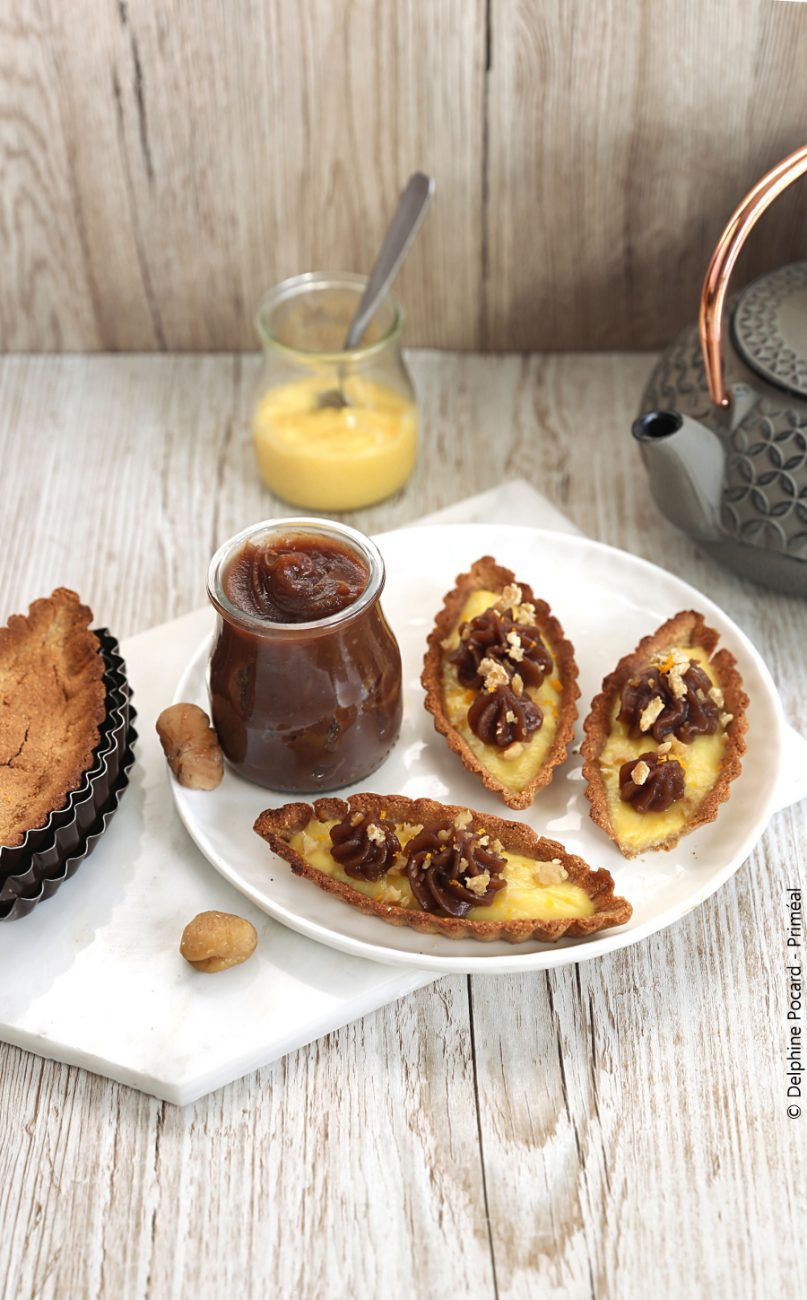 Barquettes-tartelettes châtaigne et orange curd
