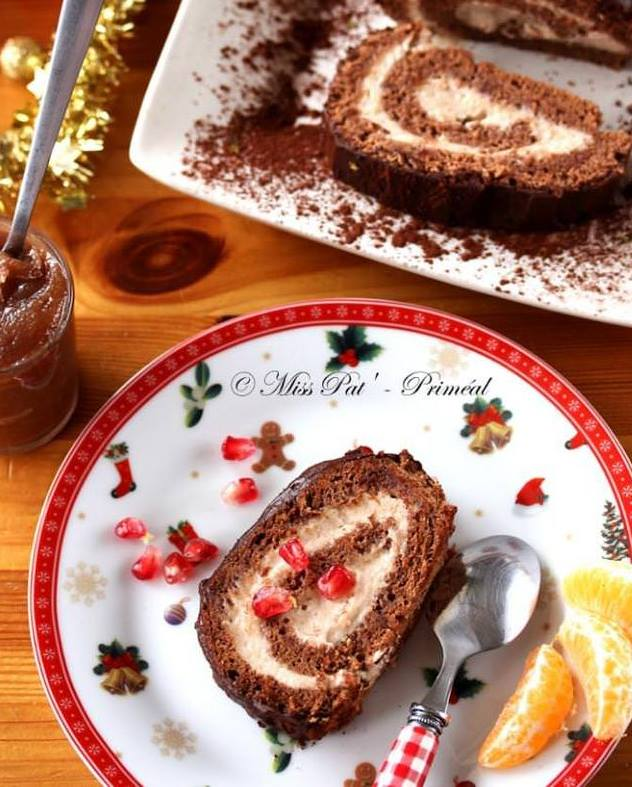 menu de noel dessert Bûche gourmande à la châtaigne