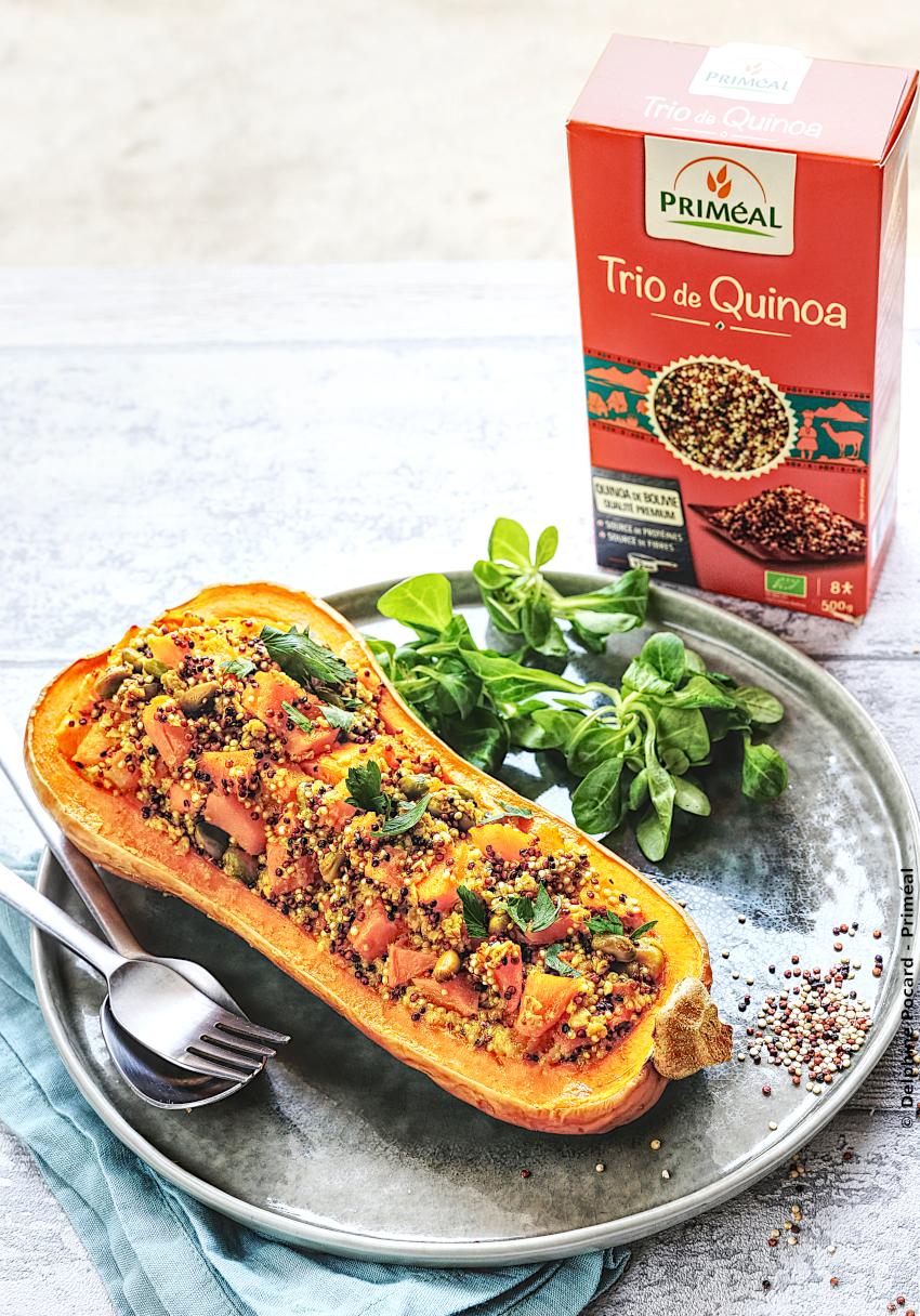 Butternut farci au trio de quinoa