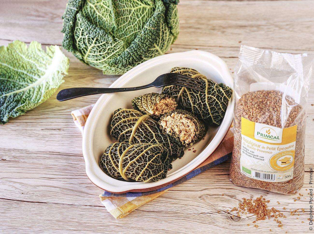 Paupiettes bio et veggie, boulgour et chou