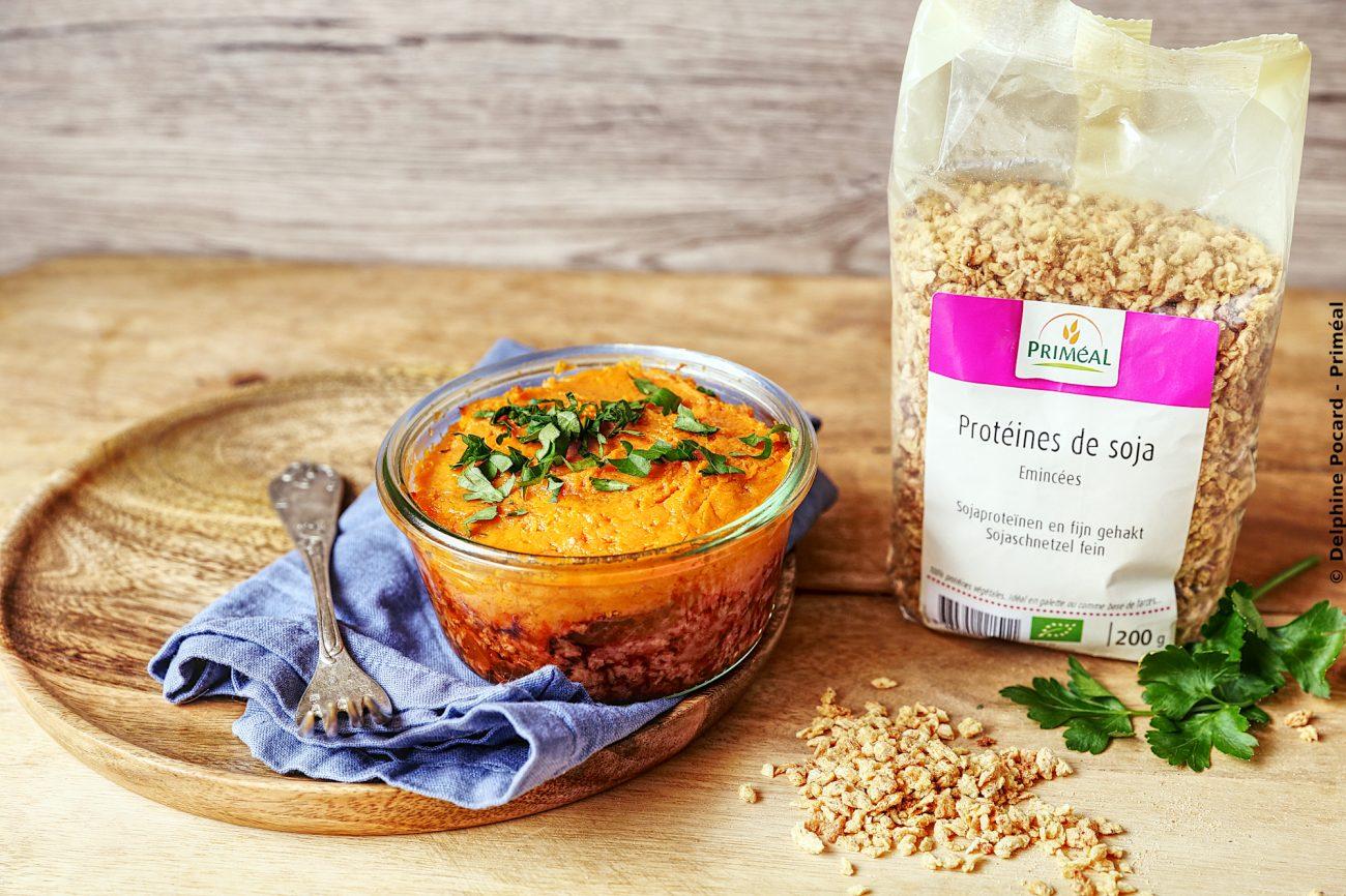 Parmentier veggie, patate douce et protéines de soja
