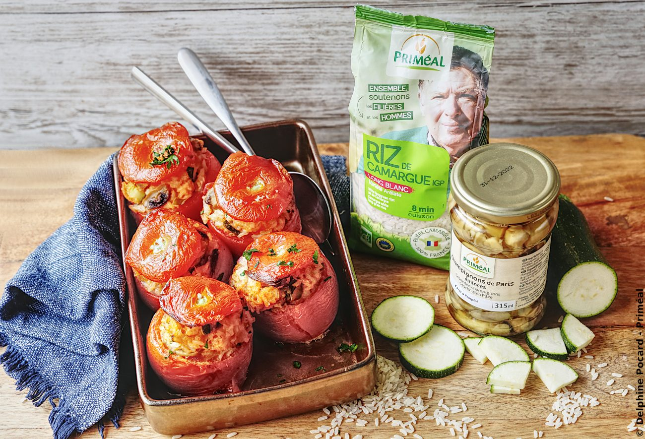 Tomates farcies veggie au riz de Camargue bio