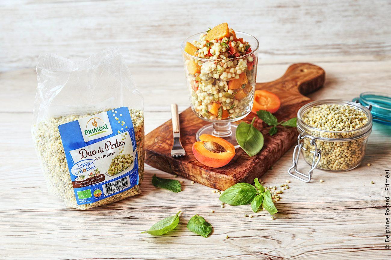 Salade de pâtes perles et brunoise de légumes aux abricots