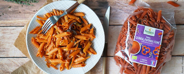 Penne quinoa et paprika, carotte et sésame