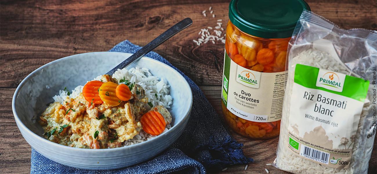 Curry de carottes et riz basmati