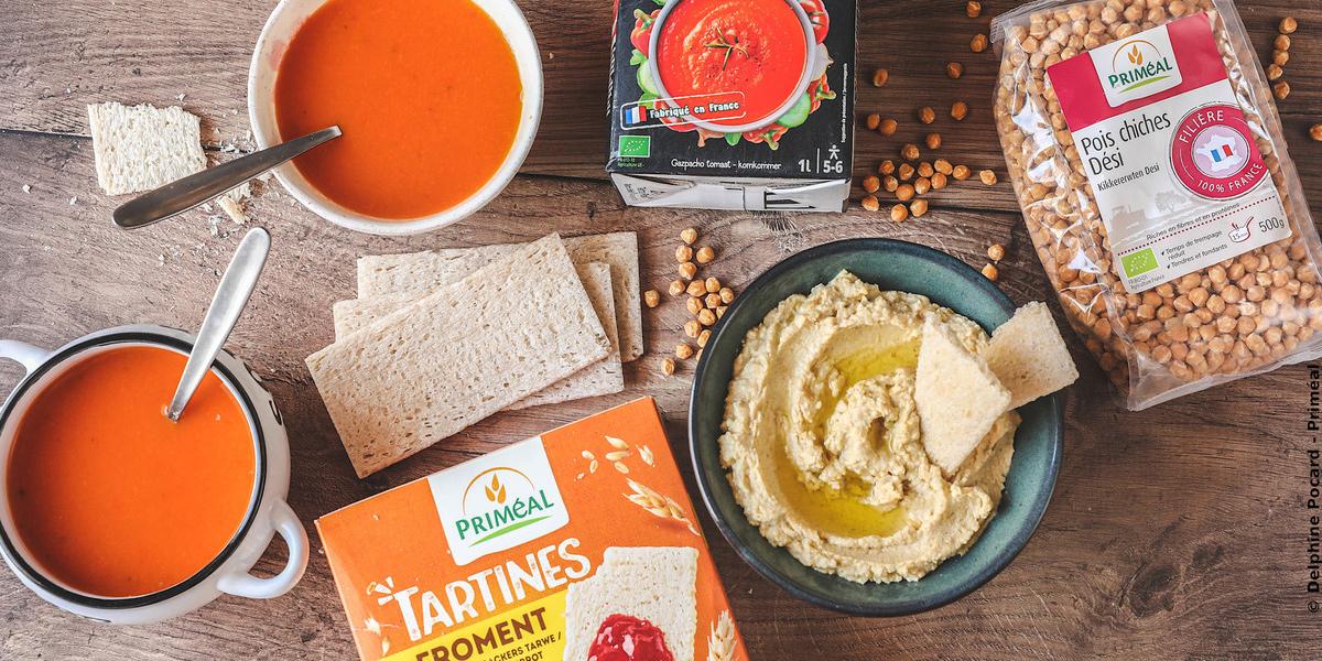 Apéro bio: Houmous et gaspacho, tartines craquantes