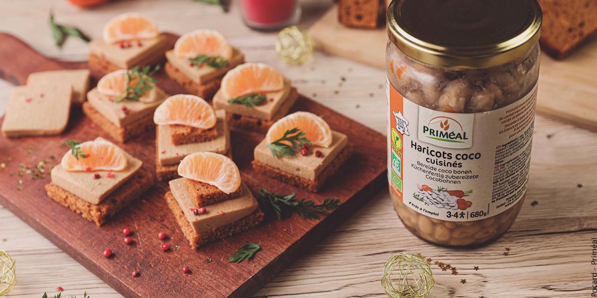 Toasts pain d'épices et faux gras (terrine végétale)